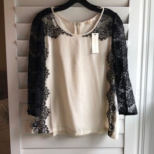 Lulus Black and White Lace Blouse. New. Size M